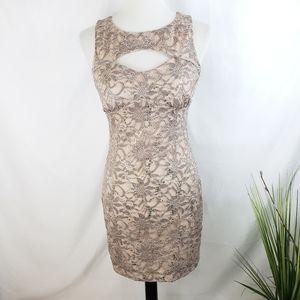♦️2/$20 Emerald Sundae Nude Lace Dress Medium